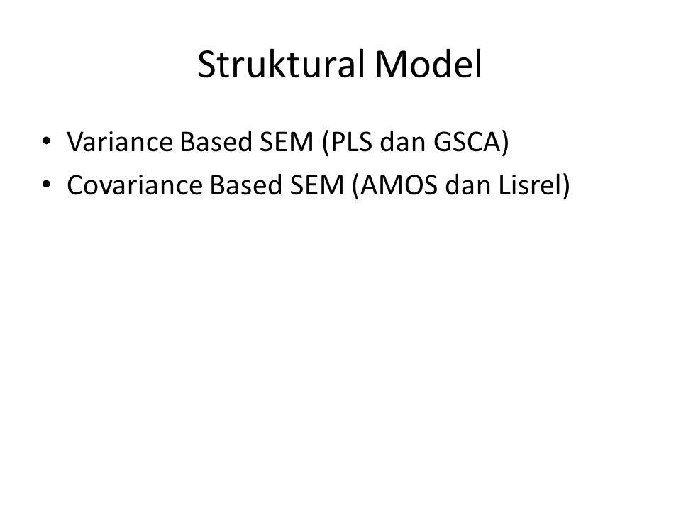 Struktural Model Variance Based SEM (PLS dan GSCA) Covariance Based SEM (AMOS dan Lisrel)