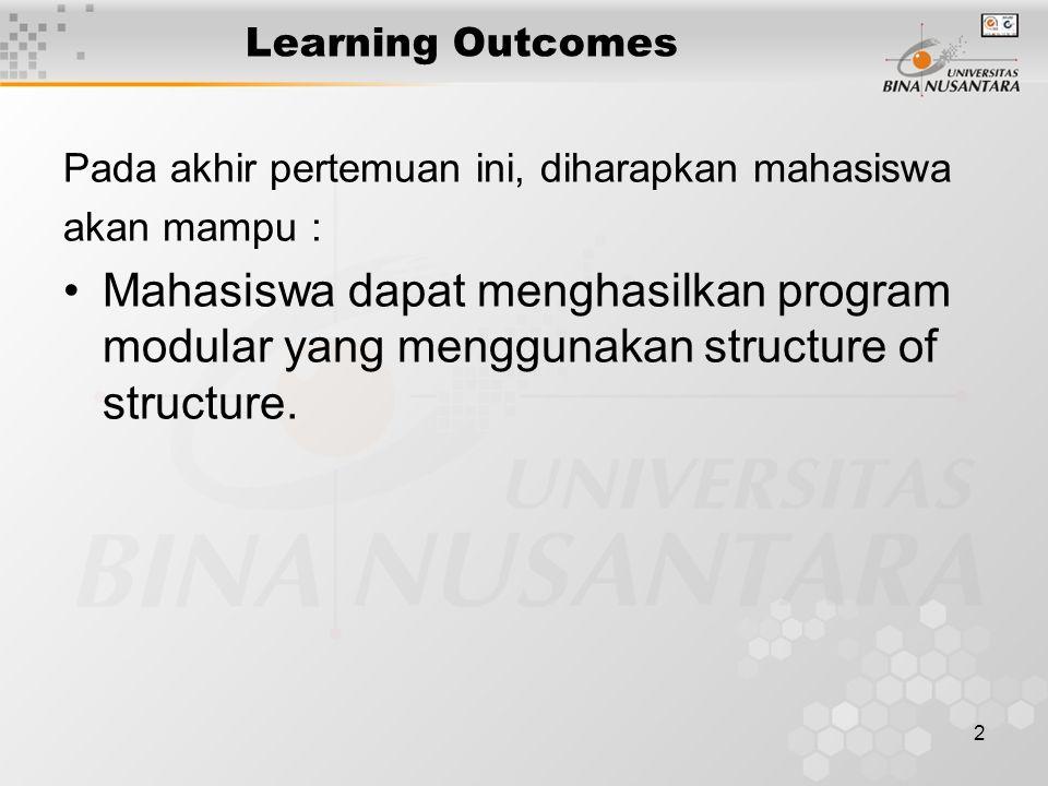 2 Learning Outcomes Pada akhir pertemuan ini, diharapkan mahasiswa akan mampu : Mahasiswa dapat menghasilkan program modular yang menggunakan structure of structure.