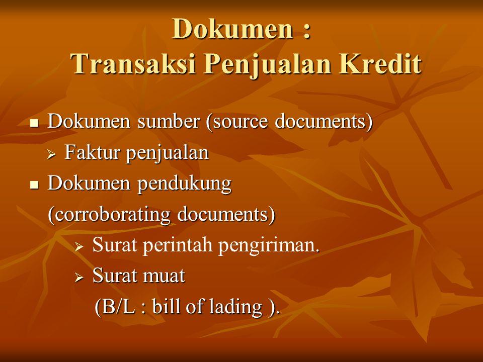 Dokumen : Transaksi Penjualan Kredit Dokumen sumber (source documents) Dokumen sumber (source documents)  Faktur penjualan Dokumen pendukung Dokumen