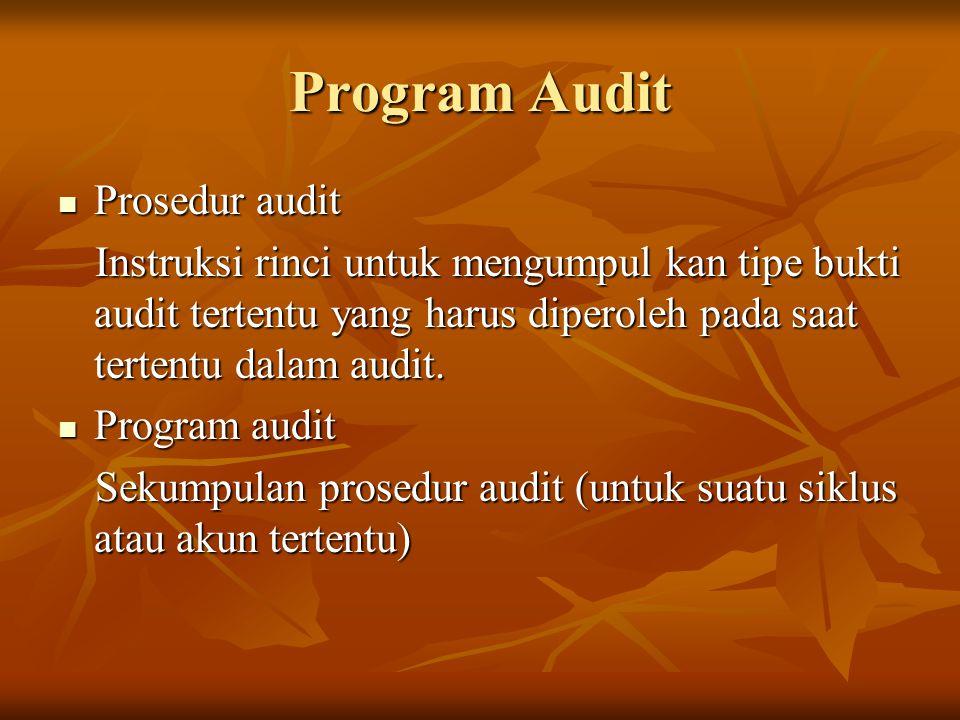 Program Audit Prosedur audit Prosedur audit Instruksi rinci untuk mengumpul kan tipe bukti audit tertentu yang harus diperoleh pada saat tertentu dala
