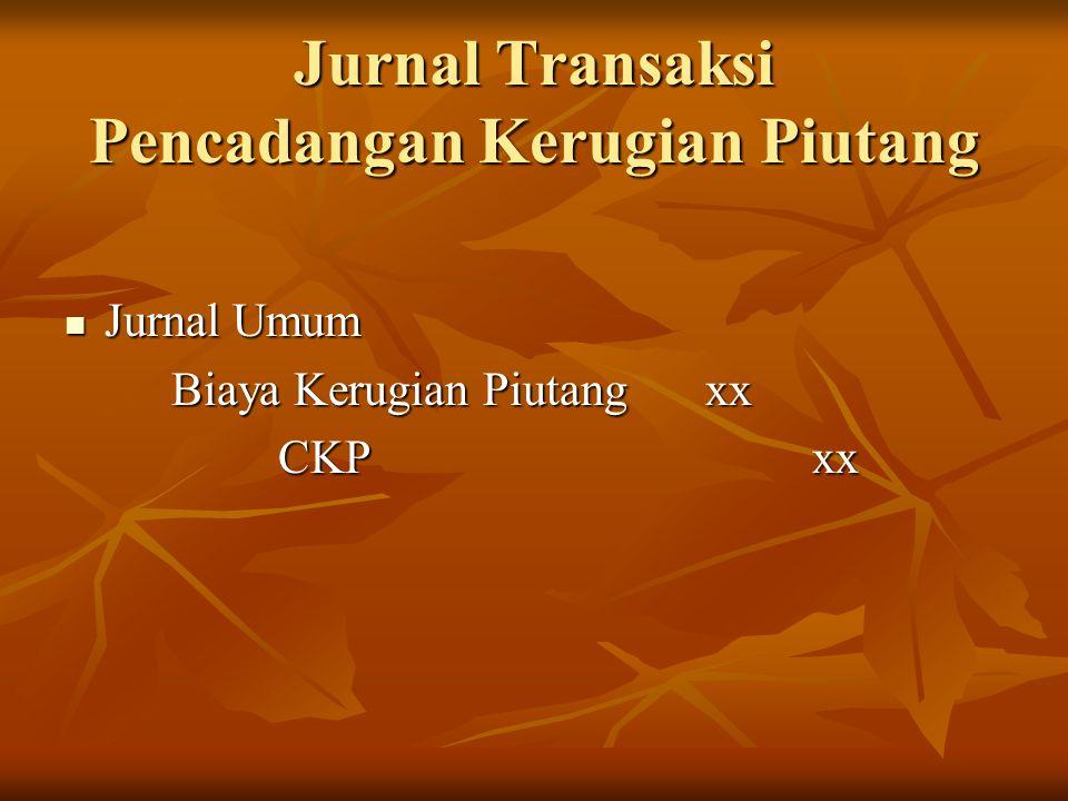Jurnal Transaksi Pencadangan Kerugian Piutang Jurnal Umum Jurnal Umum Biaya Kerugian Piutang xx Biaya Kerugian Piutang xx CKP xx