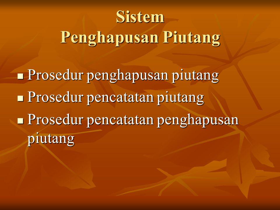 Sistem Penghapusan Piutang Prosedur penghapusan piutang Prosedur penghapusan piutang Prosedur pencatatan piutang Prosedur pencatatan piutang Prosedur