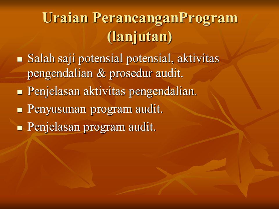 Uraian PerancanganProgram (lanjutan) Salah saji potensial potensial, aktivitas pengendalian & prosedur audit. Salah saji potensial potensial, aktivita