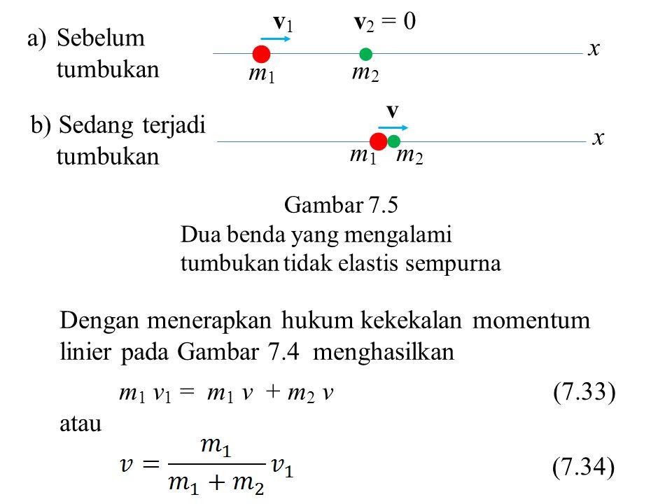   m1m1 m2m2 v b) Sedang terjadi tumbukan x   m1m1 m2m2 v1v1 v 2 = 0 a)Sebelum tumbukan x Gambar 7.5 Dua benda yang mengalami tumbukan tidak elastis sempurna Dengan menerapkan hukum kekekalan momentum linier pada Gambar 7.4 menghasilkan m 1 v 1 = m 1 v + m 2 v (7.33) atau (7.34)