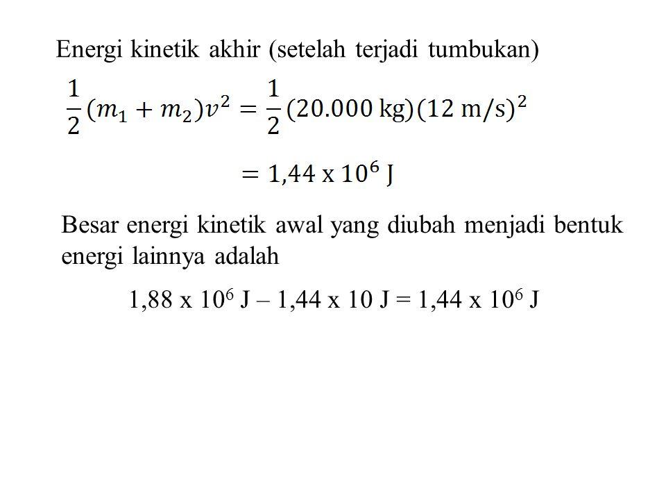 Energi kinetik akhir (setelah terjadi tumbukan) Besar energi kinetik awal yang diubah menjadi bentuk energi lainnya adalah 1,88 x 10 6 J – 1,44 x 10 J = 1,44 x 10 6 J