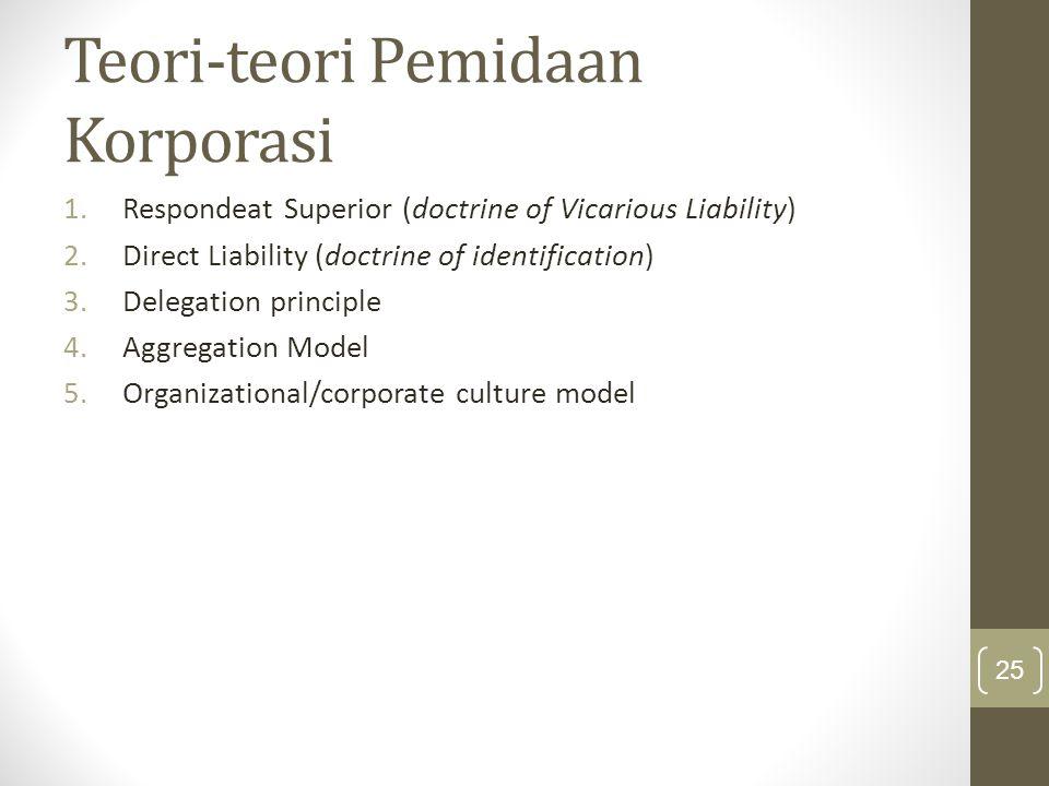 Teori-teori Pemidaan Korporasi 1.Respondeat Superior (doctrine of Vicarious Liability) 2.Direct Liability (doctrine of identification) 3.Delegation pr