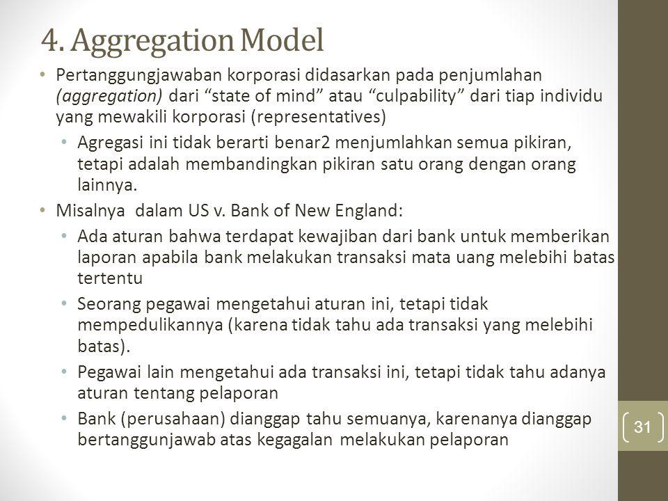 """4. Aggregation Model Pertanggungjawaban korporasi didasarkan pada penjumlahan (aggregation) dari """"state of mind"""" atau """"culpability"""" dari tiap individu"""