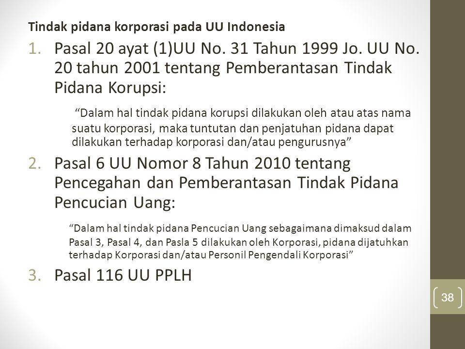 Tindak pidana korporasi pada UU Indonesia 1.Pasal 20 ayat (1)UU No. 31 Tahun 1999 Jo. UU No. 20 tahun 2001 tentang Pemberantasan Tindak Pidana Korupsi