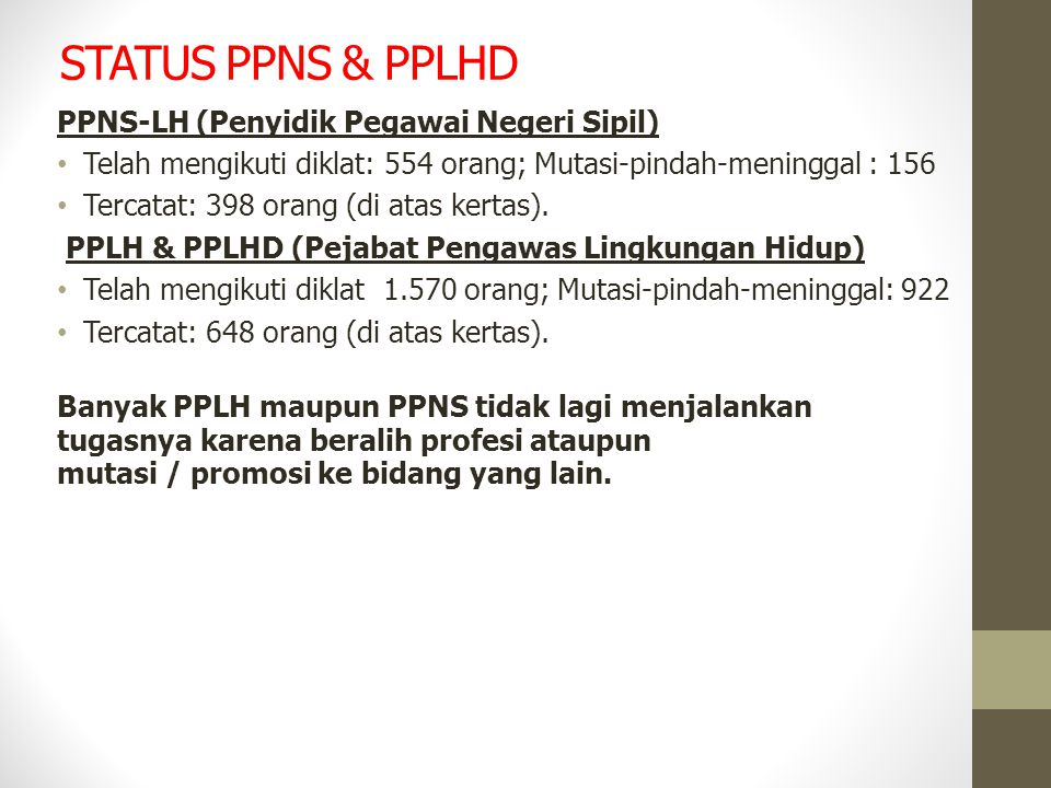 STATUS PPNS & PPLHD PPNS-LH (Penyidik Pegawai Negeri Sipil) Telah mengikuti diklat: 554 orang; Mutasi-pindah-meninggal : 156 Tercatat: 398 orang (di a
