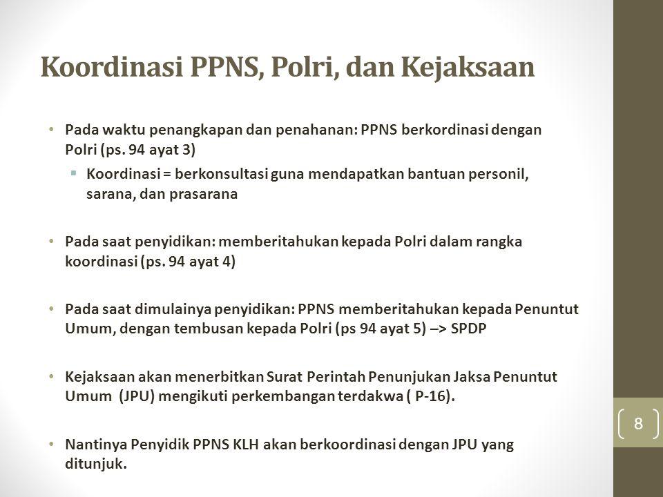 Koordinasi PPNS, Polri, dan Kejaksaan Pada waktu penangkapan dan penahanan: PPNS berkordinasi dengan Polri (ps. 94 ayat 3)  Koordinasi = berkonsultas