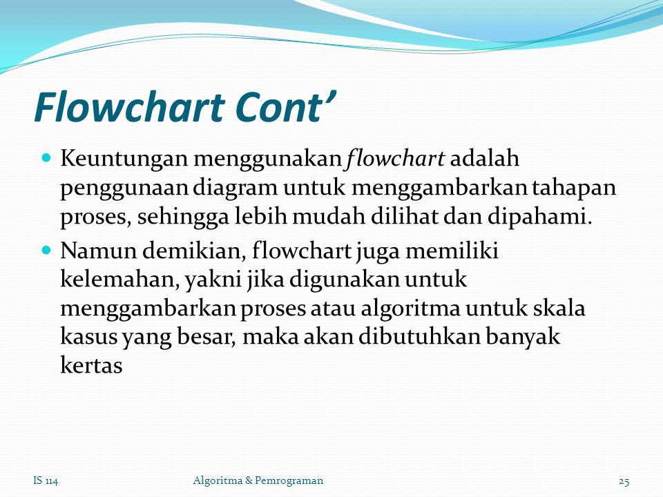 Flowchart Cont' Keuntungan menggunakan flowchart adalah penggunaan diagram untuk menggambarkan tahapan proses, sehingga lebih mudah dilihat dan dipahami.