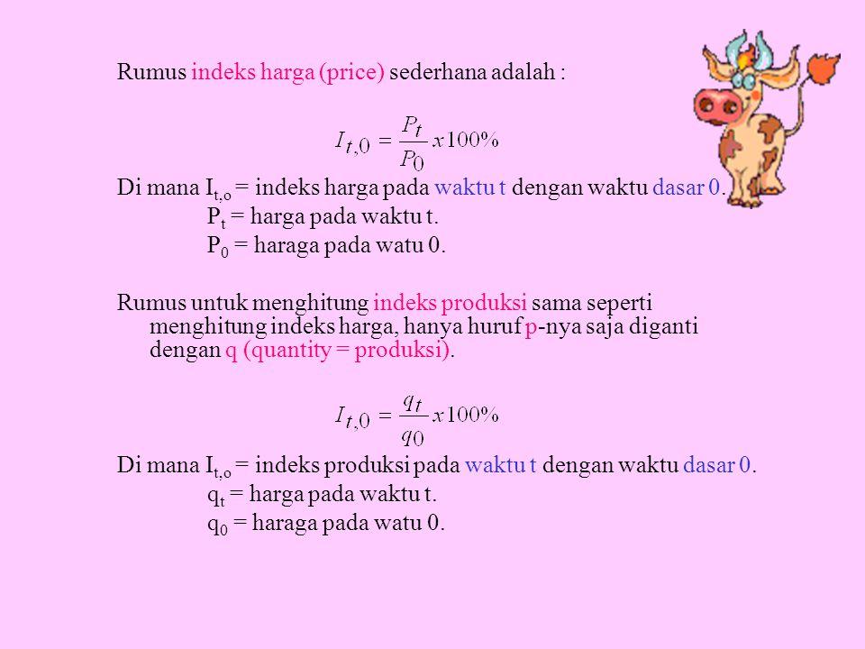 Rumus indeks harga (price) sederhana adalah : Di mana I t,o = indeks harga pada waktu t dengan waktu dasar 0. P t = harga pada waktu t. P 0 = haraga p