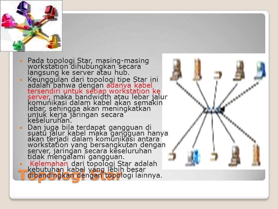 Topologi Star Pada topologi Star, masing-masing workstation dihubungkan secara langsung ke server atau hub. Keunggulan dari topologi tipe Star ini ada