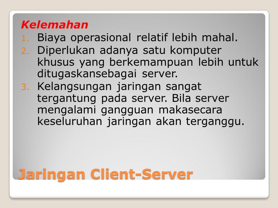 Jaringan Client-Server Kelemahan 1. Biaya operasional relatif lebih mahal. 2. Diperlukan adanya satu komputer khusus yang berkemampuan lebih untuk dit