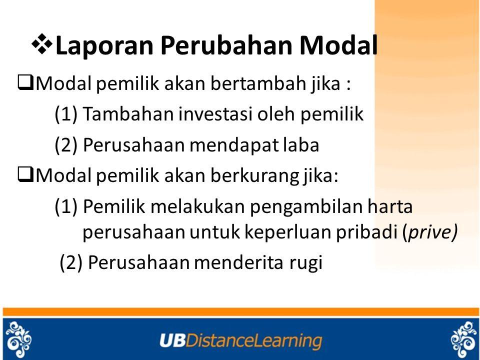  Laporan Perubahan Modal  Modal pemilik akan bertambah jika : (1) Tambahan investasi oleh pemilik (2) Perusahaan mendapat laba  Modal pemilik akan