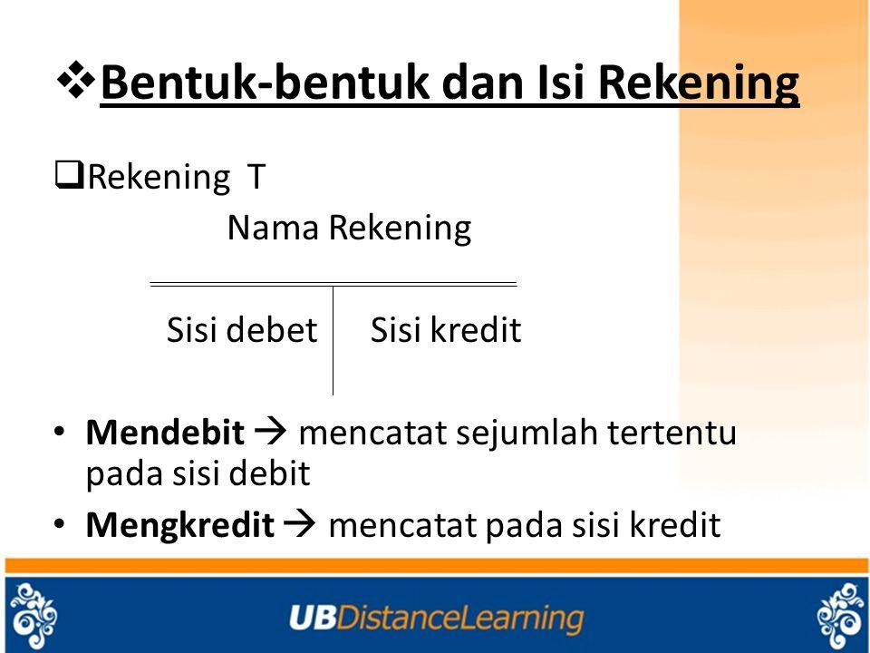  Bentuk-bentuk dan Isi Rekening  Rekening T Nama Rekening Sisi debet Sisi kredit Mendebit  mencatat sejumlah tertentu pada sisi debit Mengkredit 