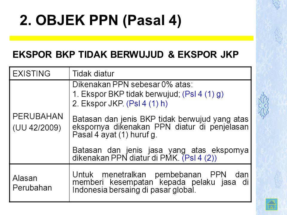 EXISTINGTidak diatur PERUBAHAN (UU 42/2009) Dikenakan PPN sebesar 0% atas: 1.