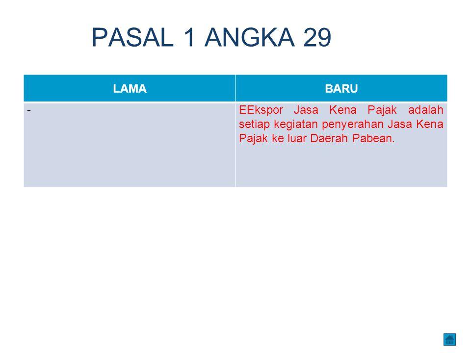 PASAL 1 ANGKA 29 LAMABARU -EEkspor Jasa Kena Pajak adalah setiap kegiatan penyerahan Jasa Kena Pajak ke luar Daerah Pabean.