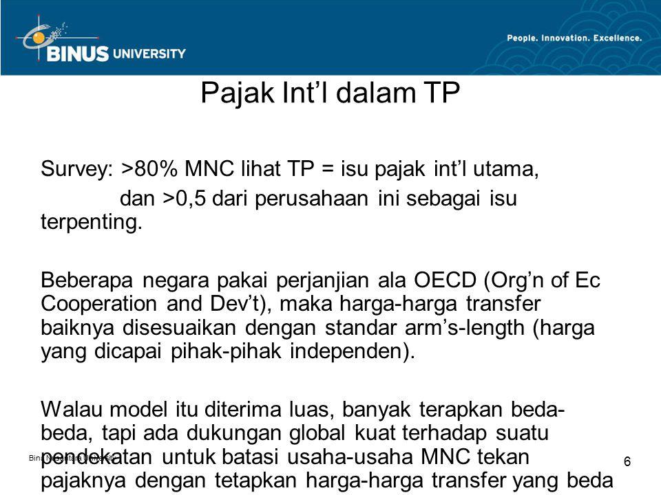 Bina Nusantara University 6 Pajak Int'l dalam TP Survey: >80% MNC lihat TP = isu pajak int'l utama, dan >0,5 dari perusahaan ini sebagai isu terpenting.