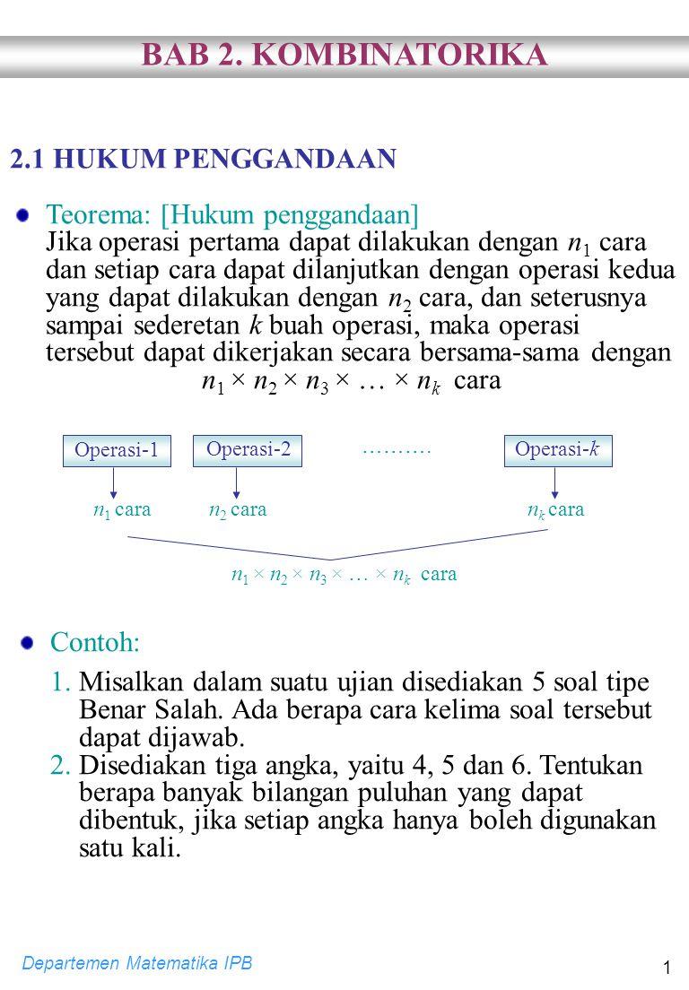Departemen Matematika IPB 1 2.1 HUKUM PENGGANDAAN Teorema: [Hukum penggandaan] Jika operasi pertama dapat dilakukan dengan n 1 cara dan setiap cara da