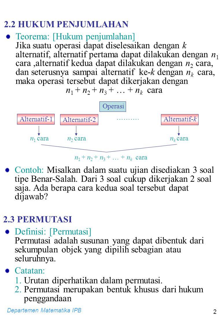 Departemen Matematika IPB 2 Alternatif-1 ………. n 1 caran 2 caran k cara n 1 + n 2 + n 3 + … + n k cara Contoh: Misalkan dalam suatu ujian disediakan 3