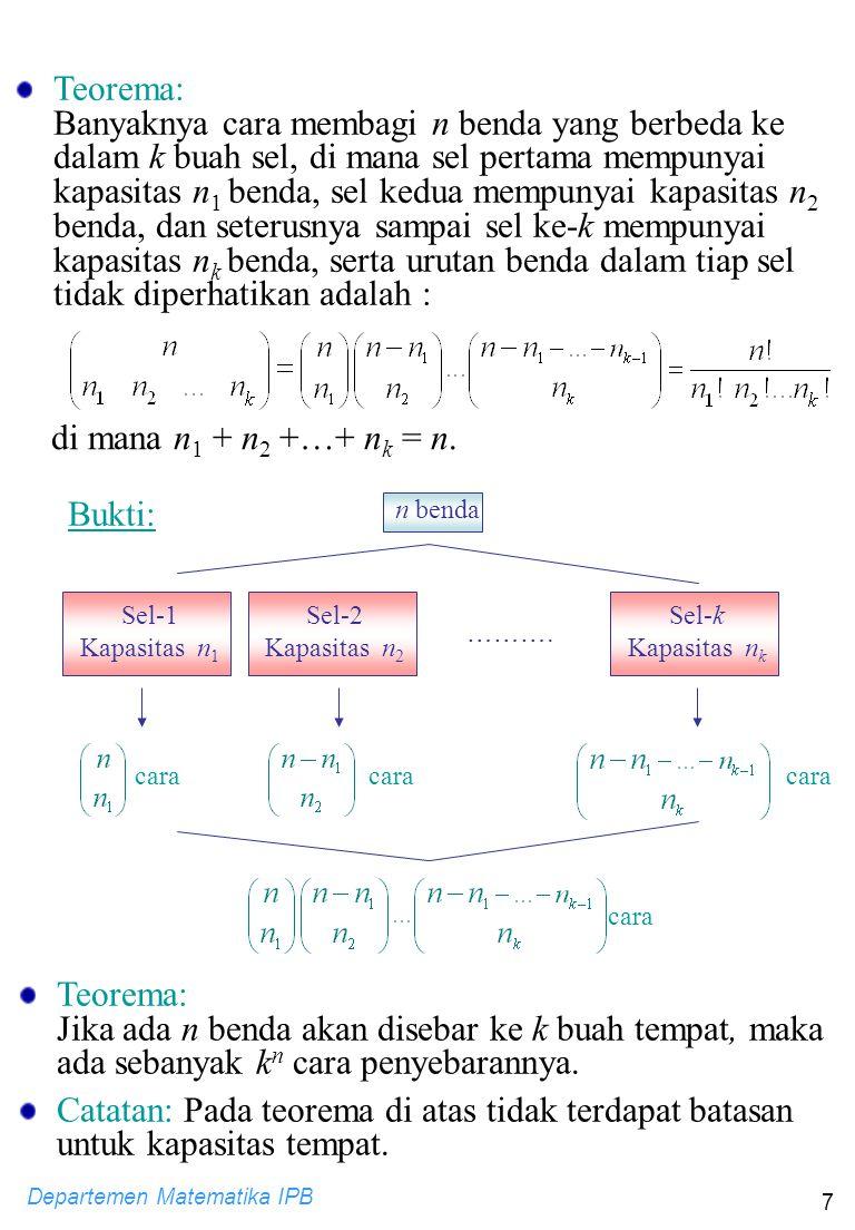 Departemen Matematika IPB 7 Sel-1 Kapasitas n 1 ………. cara n benda Teorema: Jika ada n benda akan disebar ke k buah tempat, maka ada sebanyak k n cara