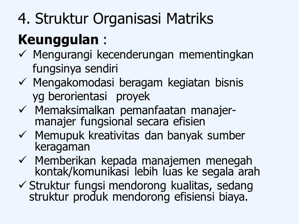 4. Struktur Organisasi Matriks Keunggulan : Mengurangi kecenderungan mementingkan fungsinya sendiri Mengakomodasi beragam kegiatan bisnis yg berorient