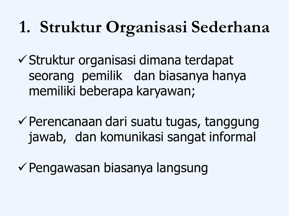 1. Struktur Organisasi Sederhana Struktur organisasi dimana terdapat seorang pemilik dan biasanya hanya memiliki beberapa karyawan; Perencanaan dari s