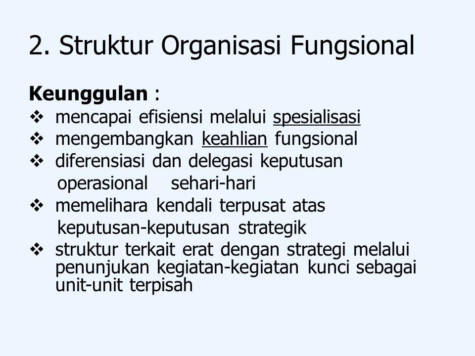 2. Struktur Organisasi Fungsional Keunggulan :  mencapai efisiensi melalui spesialisasi  mengembangkan keahlian fungsional  diferensiasi dan delega