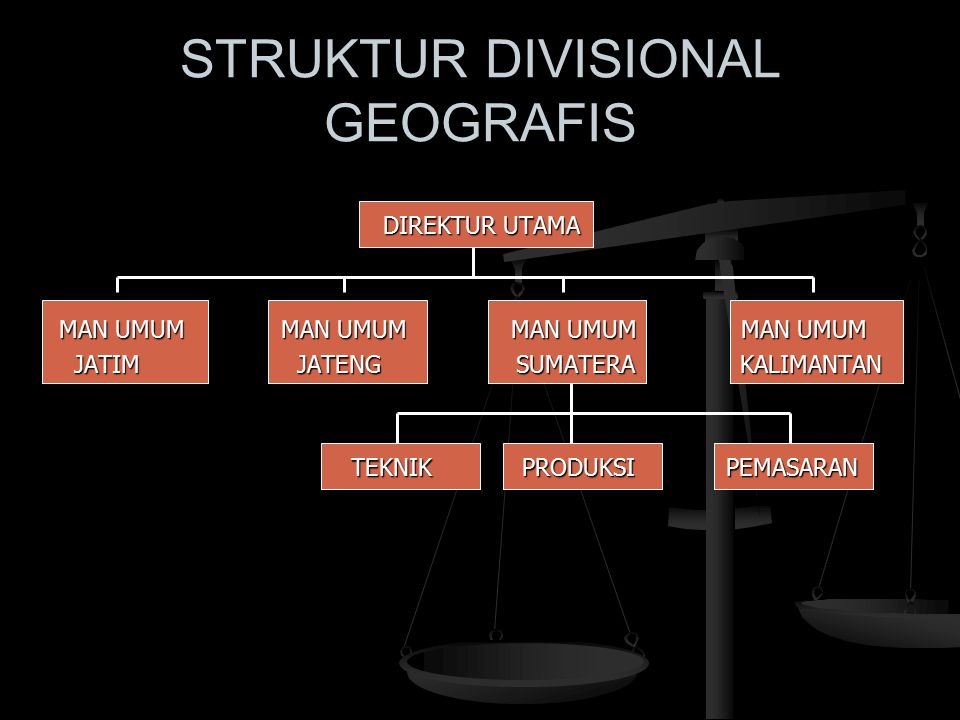 STRUKTUR DIVISIONAL GEOGRAFIS DIREKTUR UTAMA MAN UMUM MAN UMUM MAN UMUM MAN UMUM JATIM JATENG SUMATERA KALIMANTAN JATIM JATENG SUMATERA KALIMANTAN TEK