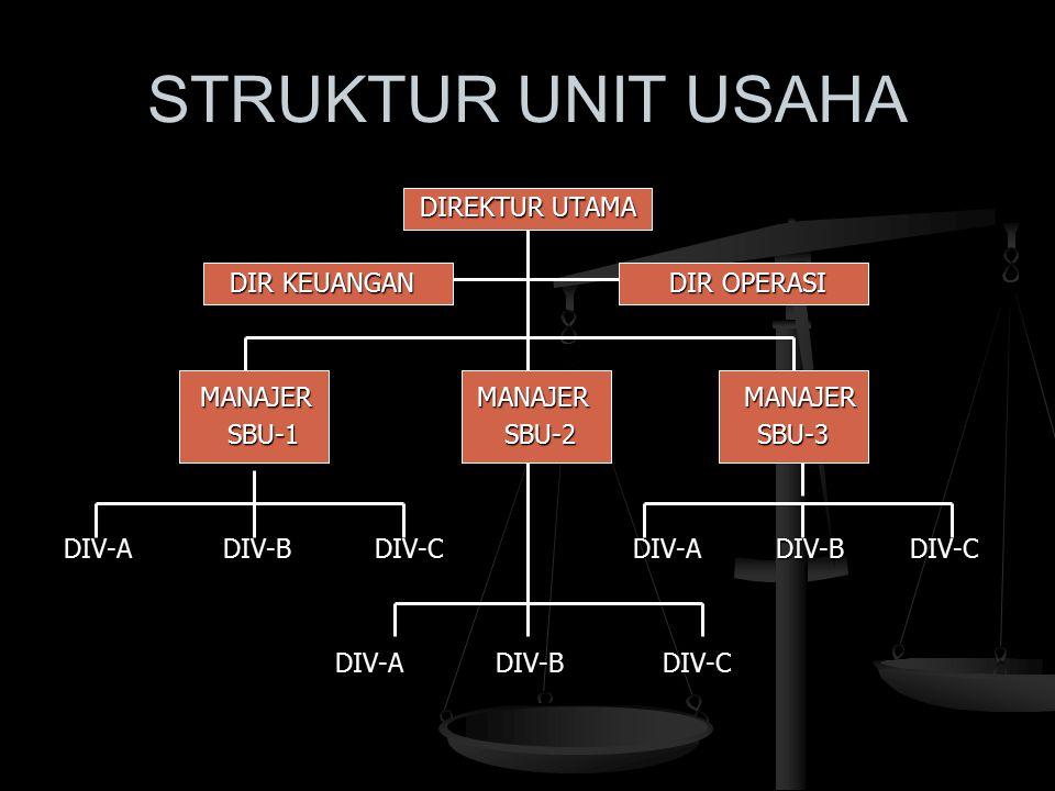 STRUKTUR UNIT USAHA DIREKTUR UTAMA DIR KEUANGAN DIR OPERASI MANAJER MANAJER MANAJER SBU-1 SBU-2 SBU-3 DIV-A DIV-B DIV-C DIV-A DIV-B DIV-C
