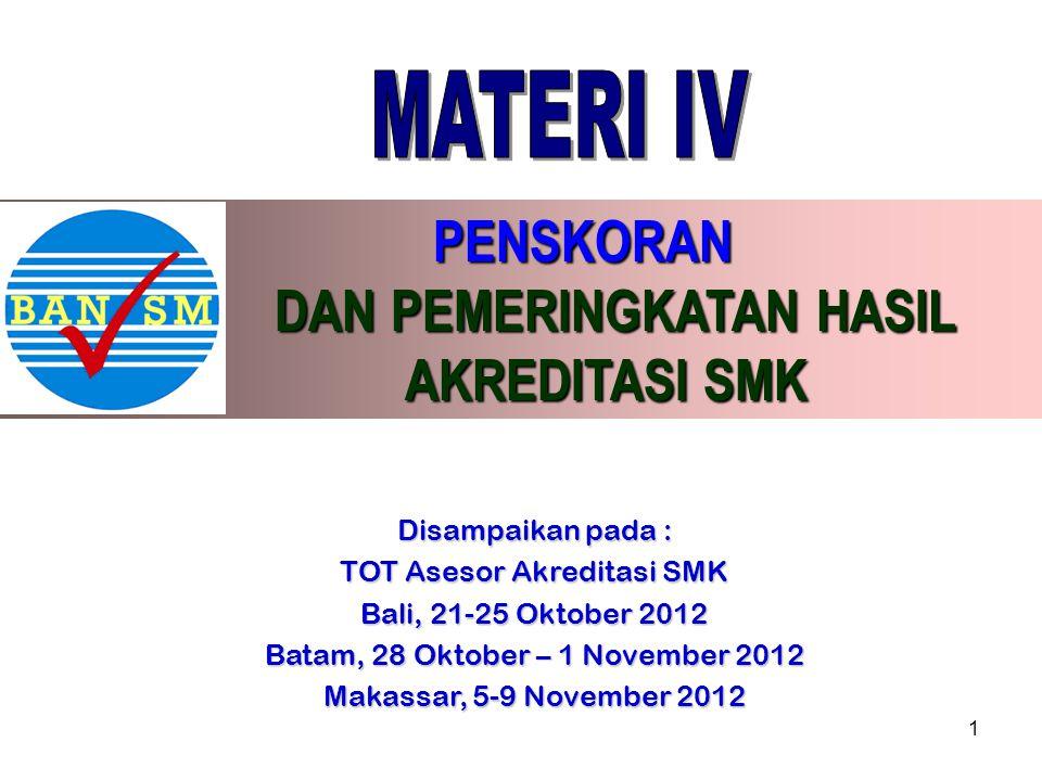 PENSKORAN PENSKORAN DAN PEMERINGKATAN HASIL DAN PEMERINGKATAN HASIL AKREDITASI SMK AKREDITASI SMK Disampaikan pada : TOT Asesor Akreditasi SMK Bali, 2