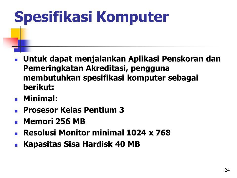 Spesifikasi Komputer Untuk dapat menjalankan Aplikasi Penskoran dan Pemeringkatan Akreditasi, pengguna membutuhkan spesifikasi komputer sebagai beriku
