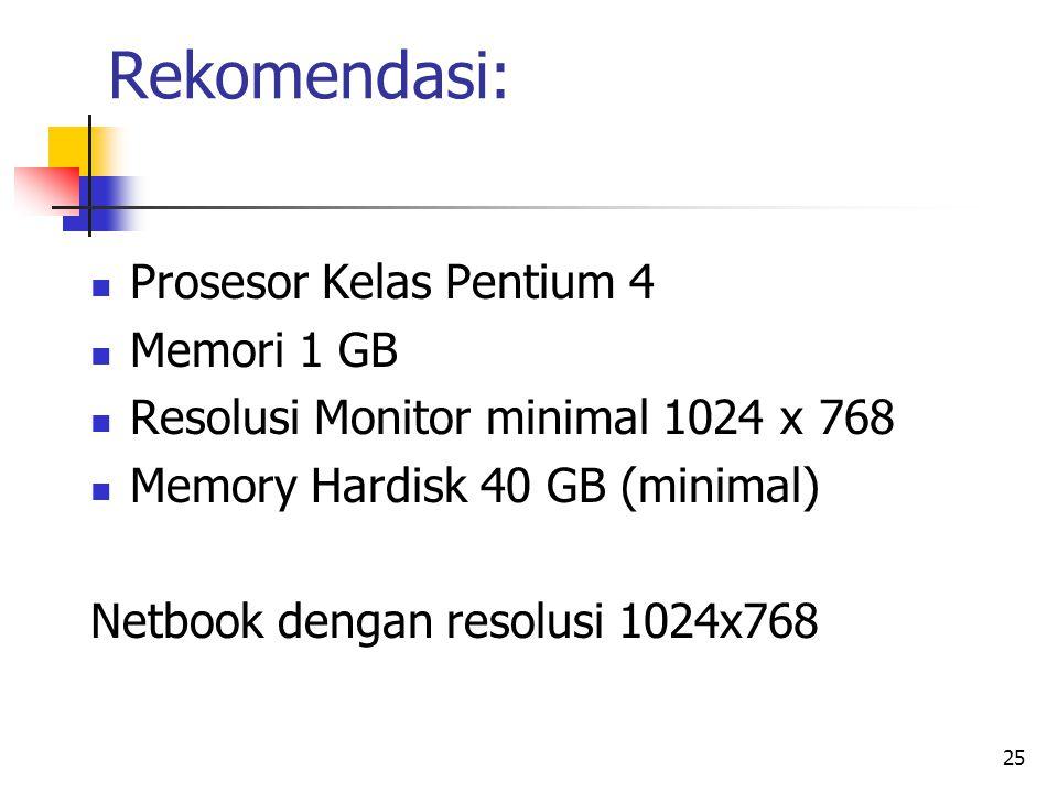 Rekomendasi: Prosesor Kelas Pentium 4 Memori 1 GB Resolusi Monitor minimal 1024 x 768 Memory Hardisk 40 GB (minimal) Netbook dengan resolusi 1024x768