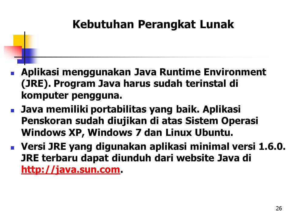 Kebutuhan Perangkat Lunak Aplikasi menggunakan Java Runtime Environment (JRE). Program Java harus sudah terinstal di komputer pengguna. Java memiliki