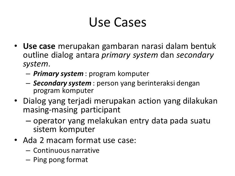 Use Cases Use case merupakan gambaran narasi dalam bentuk outline dialog antara primary system dan secondary system. – Primary system : program komput