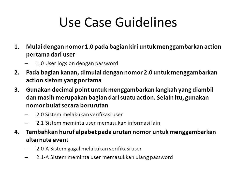 Use Case Guidelines 1.Mulai dengan nomor 1.0 pada bagian kiri untuk menggambarkan action pertama dari user – 1.0 User logs on dengan password 2.Pada b