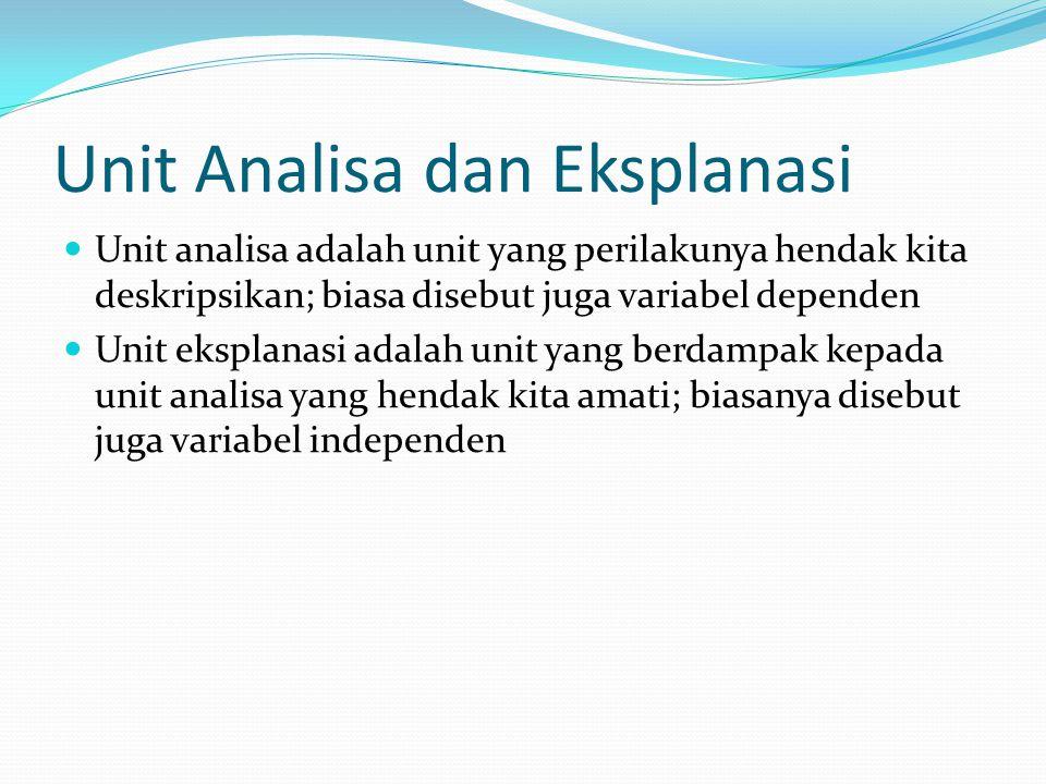 Unit Analisa dan Eksplanasi Unit analisa adalah unit yang perilakunya hendak kita deskripsikan; biasa disebut juga variabel dependen Unit eksplanasi a