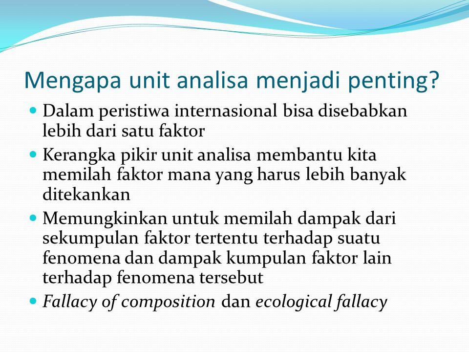 Mengapa unit analisa menjadi penting? Dalam peristiwa internasional bisa disebabkan lebih dari satu faktor Kerangka pikir unit analisa membantu kita m