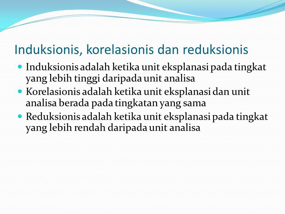 Induksionis, korelasionis dan reduksionis Induksionis adalah ketika unit eksplanasi pada tingkat yang lebih tinggi daripada unit analisa Korelasionis