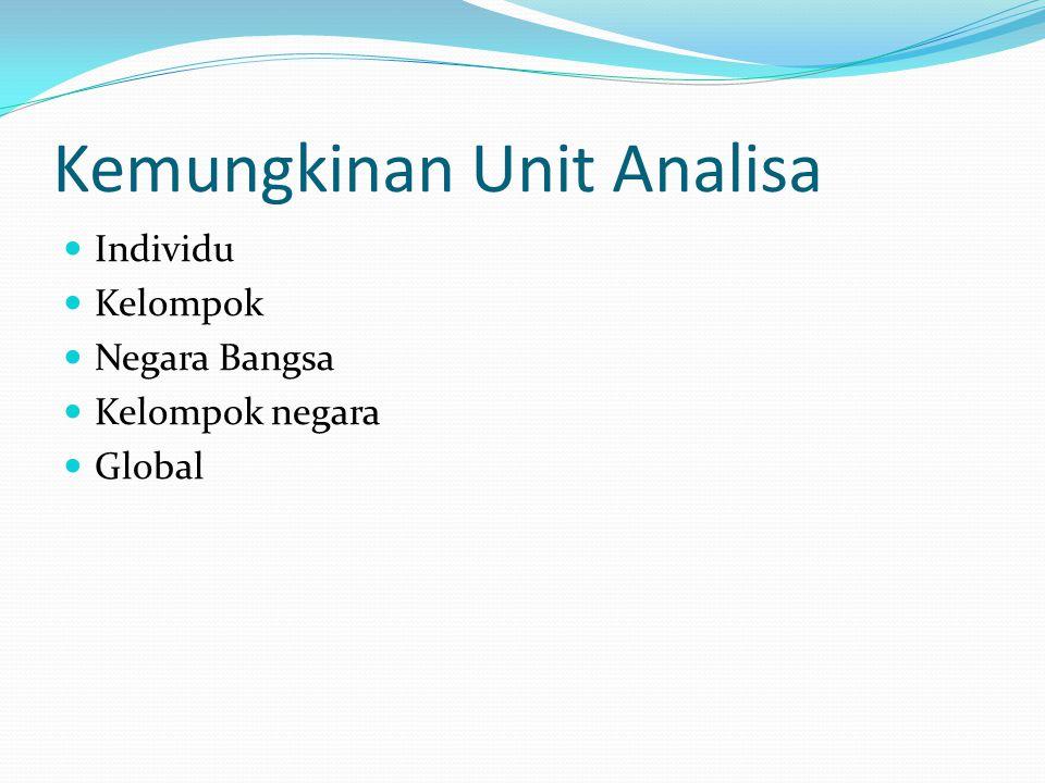 Kemungkinan Unit Analisa Individu Kelompok Negara Bangsa Kelompok negara Global