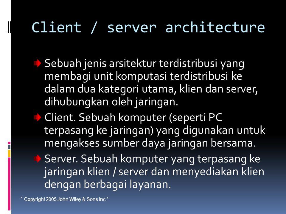 """ Copyright 2005 John Wiley & Sons Inc."" Client / server architecture Sebuah jenis arsitektur terdistribusi yang membagi unit komputasi terdistribusi"