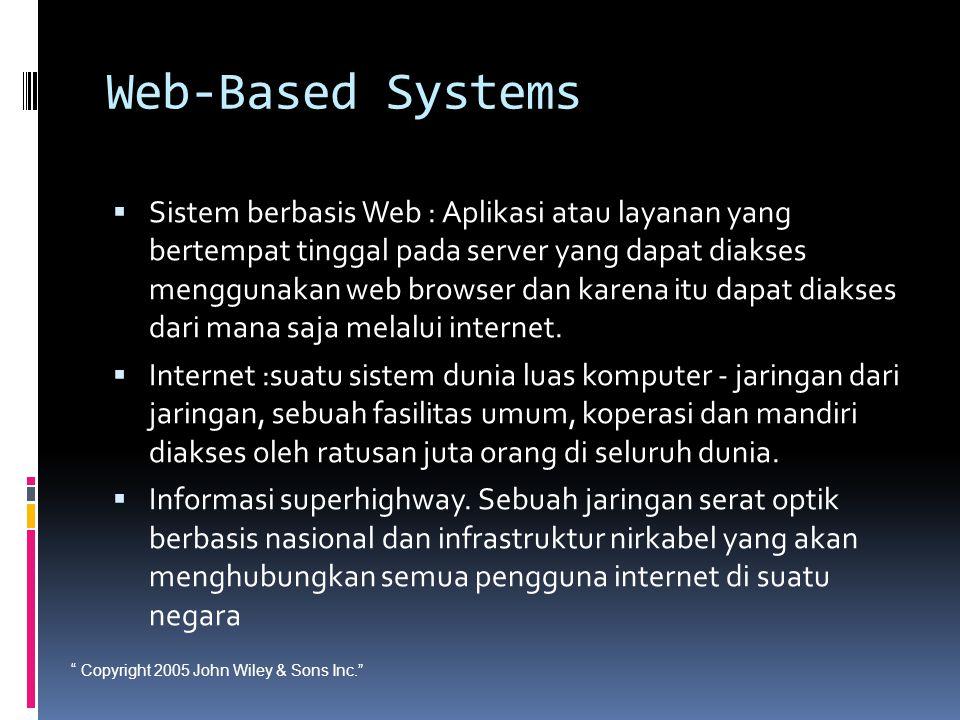 """"""" Copyright 2005 John Wiley & Sons Inc."""" Web-Based Systems  Sistem berbasis Web : Aplikasi atau layanan yang bertempat tinggal pada server yang dapat"""