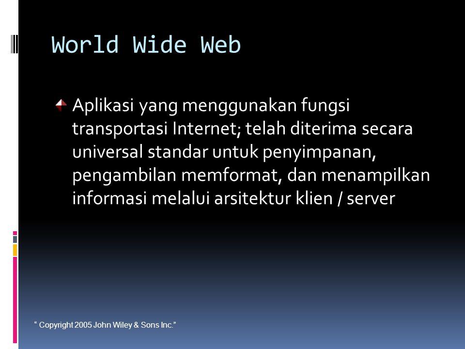 """ Copyright 2005 John Wiley & Sons Inc."" World Wide Web Aplikasi yang menggunakan fungsi transportasi Internet; telah diterima secara universal standa"