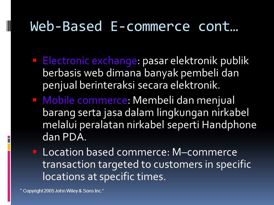 """ Copyright 2005 John Wiley & Sons Inc."" Web-Based E-commerce cont…  Electronic exchange: pasar elektronik publik berbasis web dimana banyak pembeli"