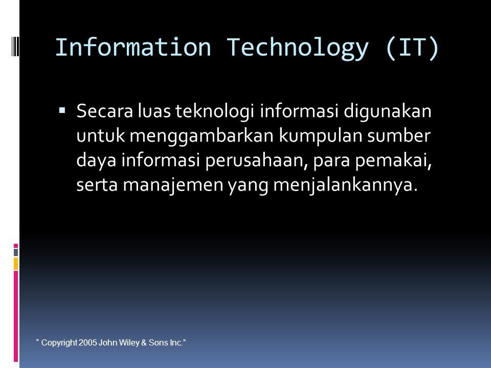 """ Copyright 2005 John Wiley & Sons Inc."" Information Technology (IT)  Secara luas teknologi informasi digunakan untuk menggambarkan kumpulan sumber d"