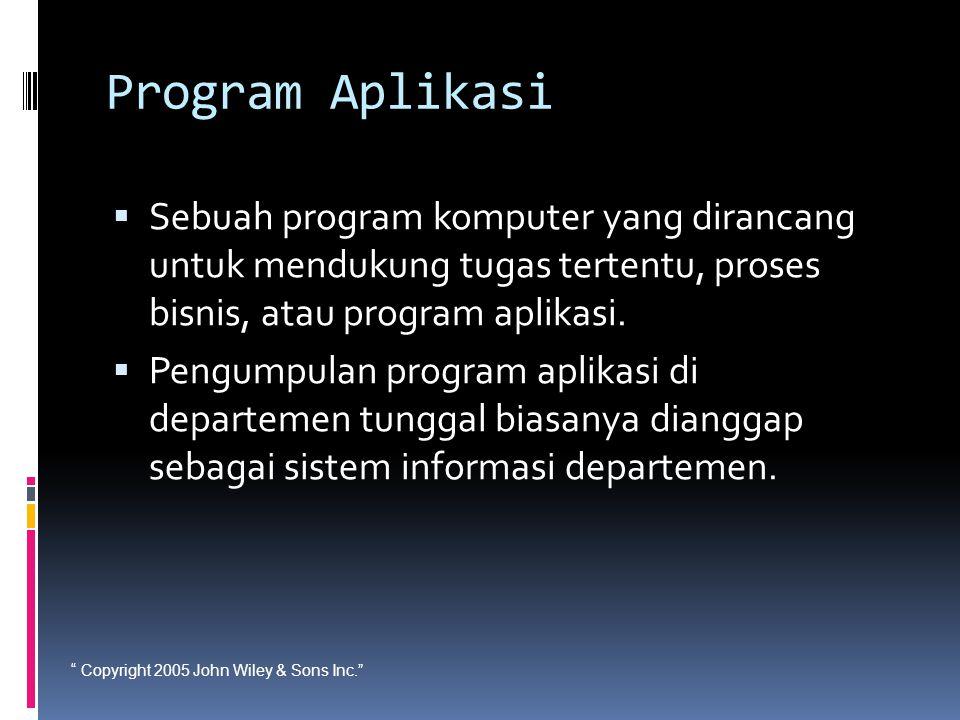 """"""" Copyright 2005 John Wiley & Sons Inc."""" Program Aplikasi  Sebuah program komputer yang dirancang untuk mendukung tugas tertentu, proses bisnis, atau"""