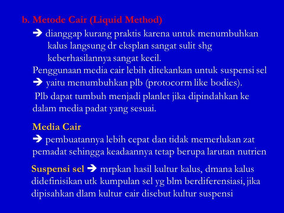b. Metode Cair (Liquid Method)  dianggap kurang praktis karena untuk menumbuhkan kalus langsung dr eksplan sangat sulit shg keberhasilannya sangat ke