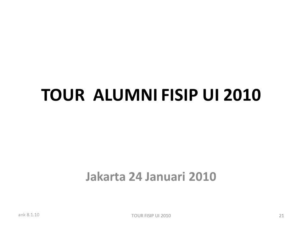 ank 8.1.10 TOUR FISIP UI 201021TOUR FISIP UI 201021 TOUR ALUMNI FISIP UI 2010 Jakarta 24 Januari 2010