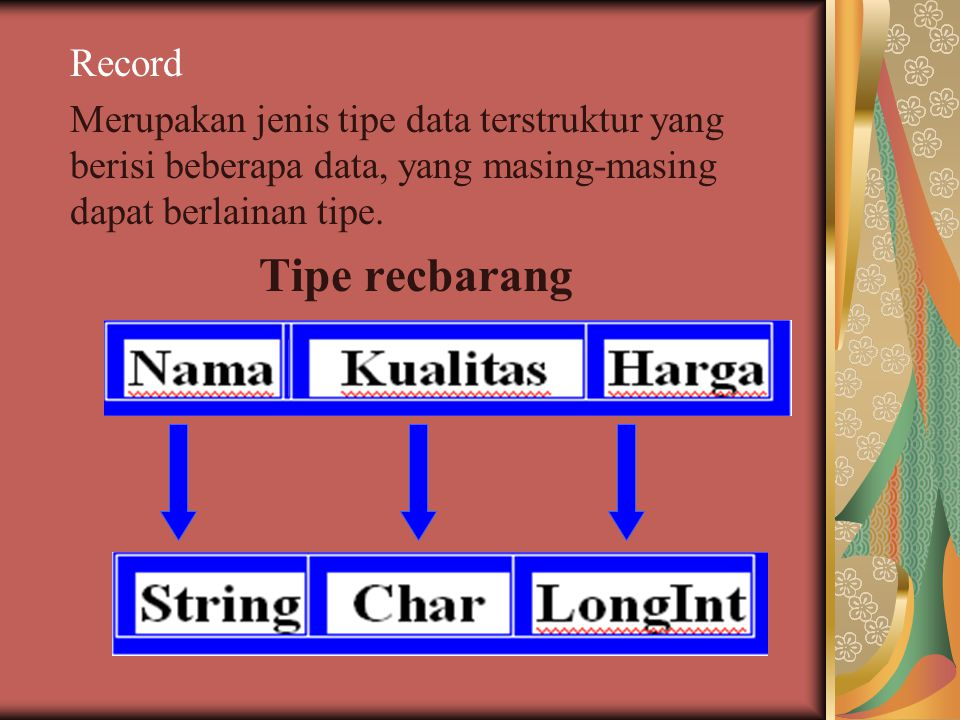 Record Merupakan jenis tipe data terstruktur yang berisi beberapa data, yang masing-masing dapat berlainan tipe.